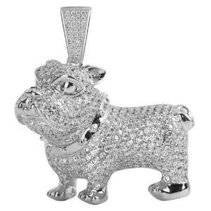 14k White Gold Over Sterling Silver Bulldog Custom Man's Pendent