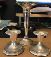 Vintage Candlesticks - Made In England - EP On Zinc - Set Of 3 - Nice Condition