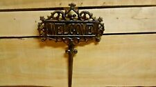 ' Cast Iron WELCOME Yard Sign EASY TO INSTALL Rustic Brown