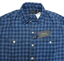 POLO RALPH LAUREN Dark Indigo BLUE PLAID Metal Button FLANNEL SHIRT $165 NWT XXL
