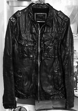 ALL SAINTS POST COMMAND Black Leather Bomber Jacket Men's Medium M AllSaints