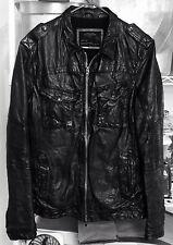 ALL SAINTS POST COMMAND Black Leather Bomber Jacket Men's Medium M AllSaints