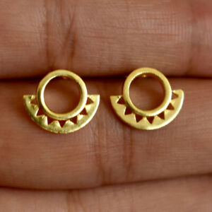 Circle earrings festival jeweler triangle hammered brass Jewellery BR-221