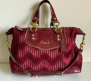COACH ASHLEY GATHERED BORDEAUX RED CONVERTIBLE SATCHEL CROSSBODY SLING BAG