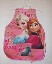 Girls Frozen Cooking Painting Apron Pocket Elsa Anna Blue Pink Sleeves 1449912