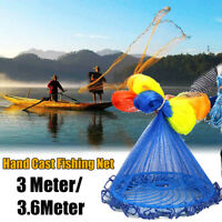 8/10/12/20FT Easy Hand Cast Fishing Net Spin Network Bait Fish Net+Sinker