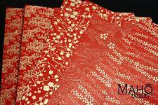 JAPANESE Yuzen RED Washi ORIGAMI folding PAPER 10 sheets GOLDEN Patterns 15x15cm