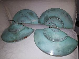 Four Vintage  Habitat  Wall Uplighters Green Copper wall lights.