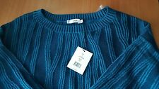 Vince NWT $375 Waterfall Ribbed Wool & Cashmere Blend Sweater teal-bay M