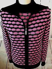 St John Sport $1.1K Black Pink Wool Blend Knit Twin Set Cardigan (S) Tank (M)