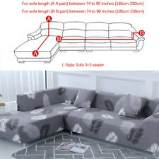 2pcs Sofa Covers Polyester Fabric Stretch Slipcovers for L Sectional sofa Gray