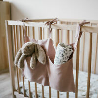 Linen Crib Organizer Hang Storage Bag Nursery Decor Baby Cot Pram Diaper Pocket