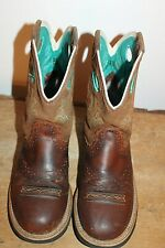 Ariat Fatbaby Cowboy Short Womens Boots Turquoise Lined 10010219 pre owned sz 8B
