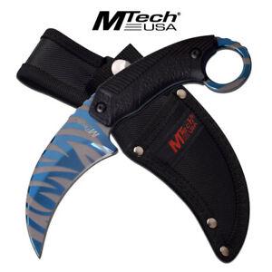 New MTech MT-20-78BL Nylon Fibre Fixed Blade Blue Tiger Stripe Titanium Karambit