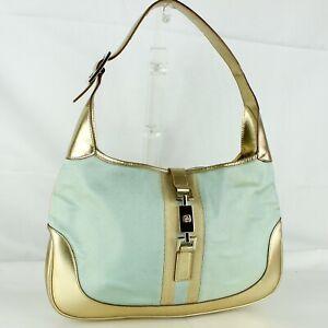 GUCCI JACKIE O Hobo Shoulder Bag Purse Canvas Metallic Leather 001 3306 1956