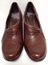 Women's Clarks Wyld Foxtrot Brown Leather Slip-on 2 inch Heel Shoe - Size 8.5M