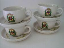 set of four ESPRESSO CUPS & SAUCERS CAFE CASA --- PORTOFINO stoneware PICTORIAL