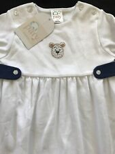 Paty (Peru) NWT Pima White/Navy Embroidered Bear Longall 3-6 Months