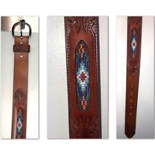 VTG Silver Creek Western Brown Leather Belt Tooled W/ Beaded Inlay 38 NEW
