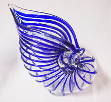 Art Glass conch shaped Vase home decor Blue with Clear Brand New 28cm*27cm