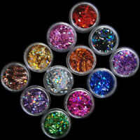 12pcs 12 Colors Nail Art Acrylic 3D Rhombus Glitter Sequins Powder Manicure SUR