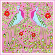 BonEful Fabric Cotton Quilt VTG Pink Red Flower GIRL Peacock Bird FQ SALE SCRAP
