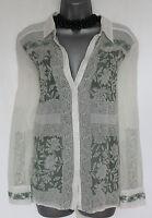 MONSOON Ivory Green Embroidered Beautiful Long Sleeve Shirt  Top Medium