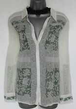 MONSOON Ivory Green Embroidered Beautiful Long Sleeve Shirt  Top Medium