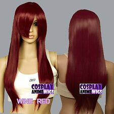 70cm Wine Red Heat Styleable Long Cosplay Wigs 76_118