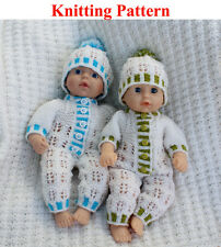Knitting pattern for 12 - 14 inch dolls all-in-one Bodysuit and Hat