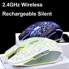 BATTERIA RICARICABILE 2.4ghz Wireless 2400dpi SILENT illuminato USB Gaming Mouse Blu