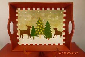 NEW Heartland Assortment Cranberry Red Reindeer Wood Serving Tray Handles 14x11