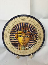 Egyptian Porcelain Plate Handmade Cartouche Tan Gold Blue King Tut Mask 10.5""