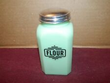 "Art Deco Style Jade Milk Glass 4 3/4"" Tall Bakery Flour Shaker Top Canister Jar"