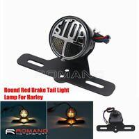 Motorcycle Custom Tail Light For Harley Stop Brake Lamp w/ Number Plate Holder