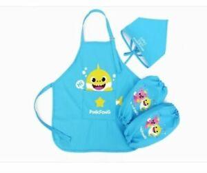 Pinkfong Baby Shark Kids Apron Headscarf Wristlet Set Cooking Baking Pink Blue