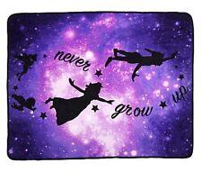 "Disney Peter Pan Galaxy Never Grow Old Super Plush 48""x 60"" Throw Blanket"