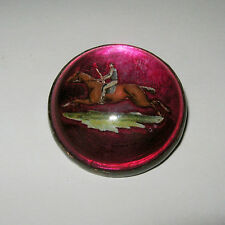 Antique Reverse Carved Dome Horse Riding Jockey Brooch Pin