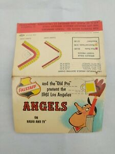 1961 Los Angeles Angels Falstaff Beer  Baseball Foldout Pocket Schedule
