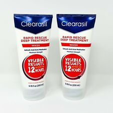 2 Pack Clearasil Rapid Rescue Deep Acne Face Wash With Salicylic Acid  6.78 oz