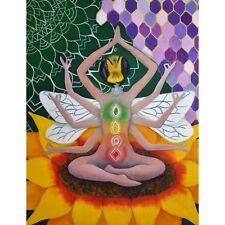 Goddess Meditating Bee With Chakras Wall Poster Psychedelic Art Oil Paint Print