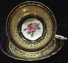 Vintage Paragon Footed Tea Cup and Saucer Set Pink Rose, Cobalt Blue n