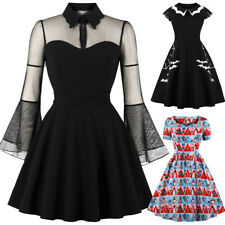 Halloween Black Queen Dress Womens Punk Party Gothic Rockabilly Swing Dresses UK