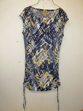 Kasper Womens Tunic Top-Medium-Shirred Sides-Blues-Yellow-White-Career-Casual
