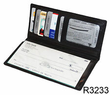 Black Genuine Leather Thin Checkbook Cover Card ID Holder Long Clutch Wallet
