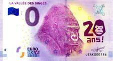 86 ROMAGNE Vallée des singes 2, 20 ans, N° de la 2ème, 2018, Billet 0 € Souvenir