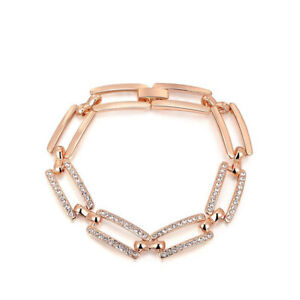 Woman Frame Stretch White Fire Topaz Gems Rose Gold Plated Charm Chain Bracelets