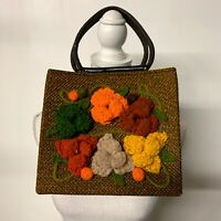 VTG Floral Boho Hippie Crochet Handbag 70s Tweed Structured Bucket Bag 1970s