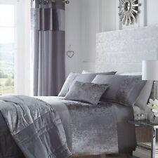King Size Bed Duvet Cover Set Boulevard Dove Grey Metallic Crushed Velvet Luxury