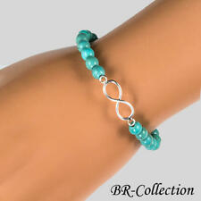925 Sterling Silver Infinity Stretch Bracelet Beaded with Turquoise